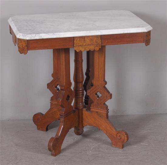 WALNUT VICTORIAN PARLOR TABLE WITH BURLED VENEER DECOR AND WHITE MARBLE TOP, 30