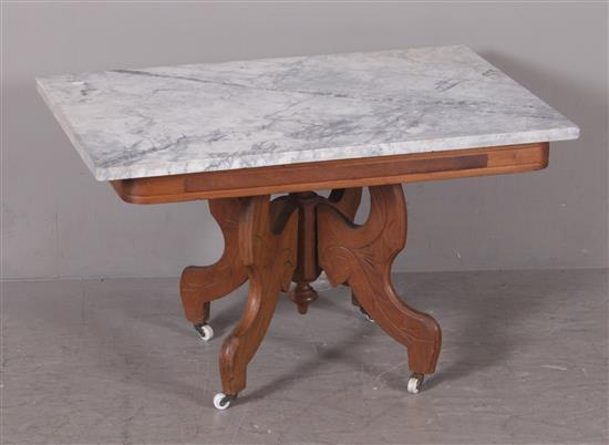 WALNUT VICTORIAN COFFEE TABLE WITH BLACK AND WHITE MARBLE TOP, 32