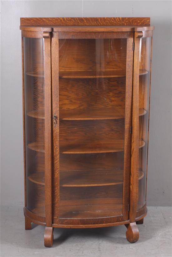 OAK CURVED FRONT CHINA CABINET, 36