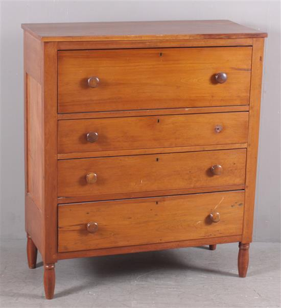 CHERRY SHERATON 4-DRAWER CHEST MISSING ONE KNOB, 41