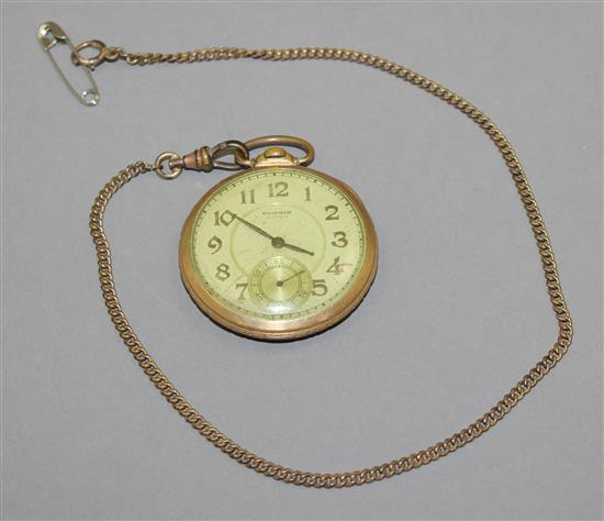 WALTHAM RIVERSIDE GOLDTONE OPEN FACE 21 JEWELS #1271, MOVEMENT #28856400 POCKET WATCH WITH GOLDTONE CHAIN