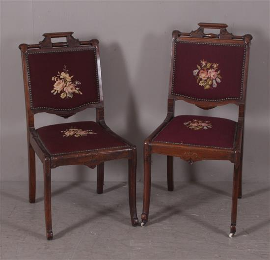 PAIR WALNUT VICTORIAN DINING CHAIRS WITH ROSE NEEDLEPOINT SEATS AND NAILHEAD DECOR, 36