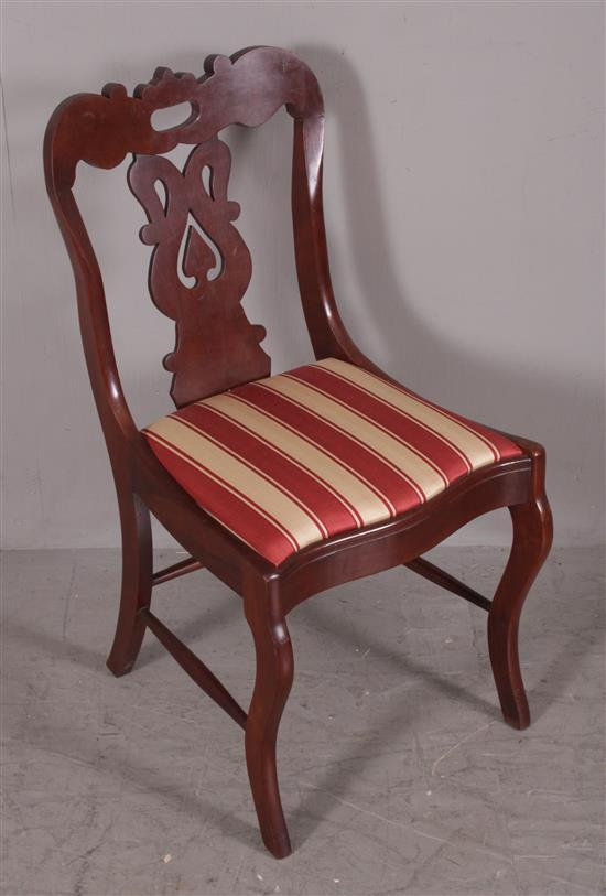 6 CHERRY CUT OUT, VASE-BACK, SABRE LEG DINING CHAIRS WITH RED AND WHITE STRIPE UPHOLSTERY, 33