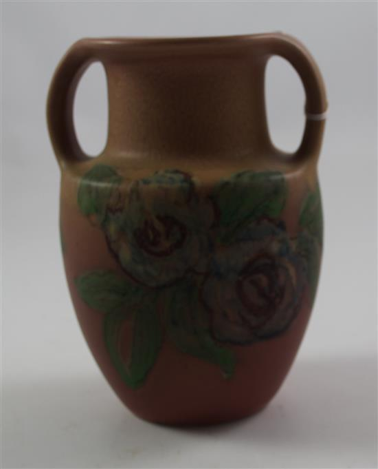 ROOKWOOD POTTERY VASE #2426, HAND PAINTED ROSE DECOR, 1925, 8