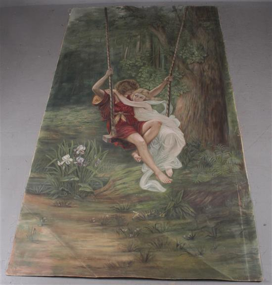 A.M. KRUEGER LARGE UNSTRETCHED OIL ON CANVAS YOUNG BOY AND GIRL ON SWING, SIGNED MIDDLE RIGHT, DATED 1899, 120