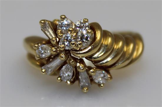 UNMARKED YELLOW GOLD, TESTS 14K, FASHION RING WITH ROUND AND BAGUETTE DIAMONDS, SIZE 6 1/4, 5.5 GRAMS TOTAL
