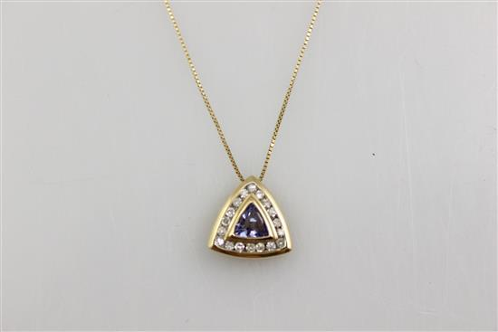 STAMPED 14K YELLOW GOLD FINE BOXLINK CHAIN NECKLACE WITH TRILLION CUT TANZANITE AND DIAMOND PENDANT, CHAIN 18