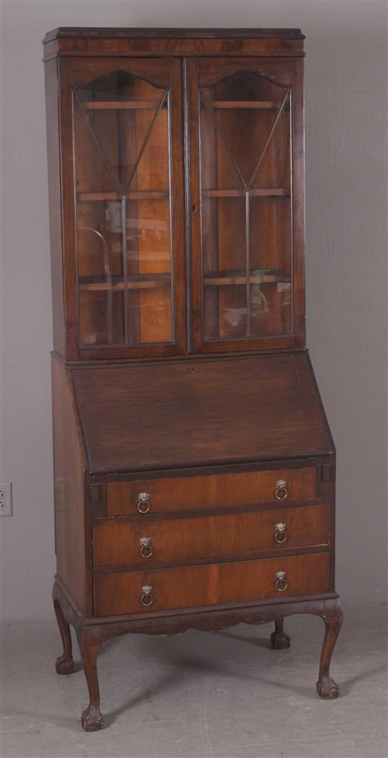 1920's MAHOGANY SLANT FRONT SECRETARY WITH BOOKCASE TOP AND BALL AND CLAW FEET, 29.5