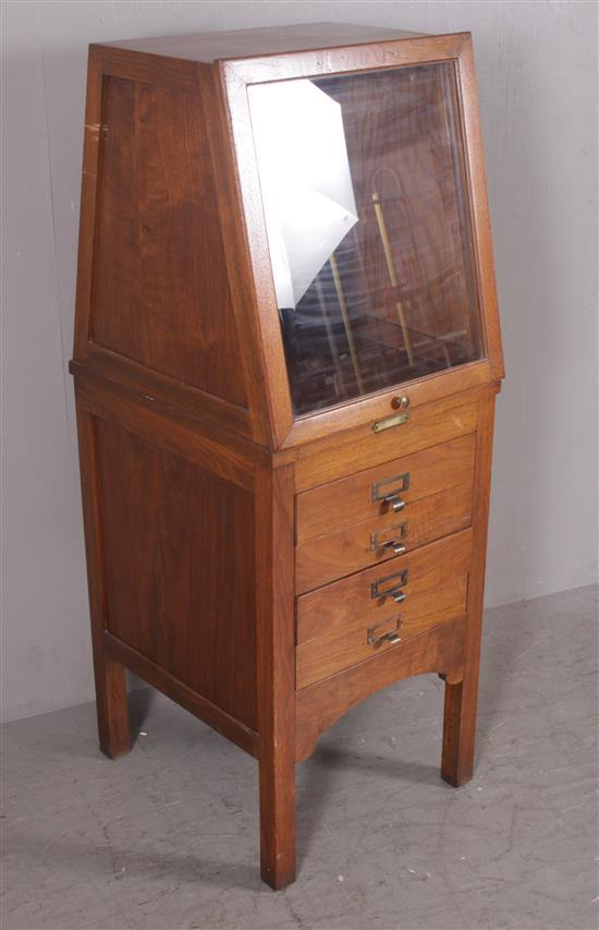 MAHOGANY DISPLAY CABINET WITH LIFT FRONT GLASS DOOR AND FILE DRAWERS, 19
