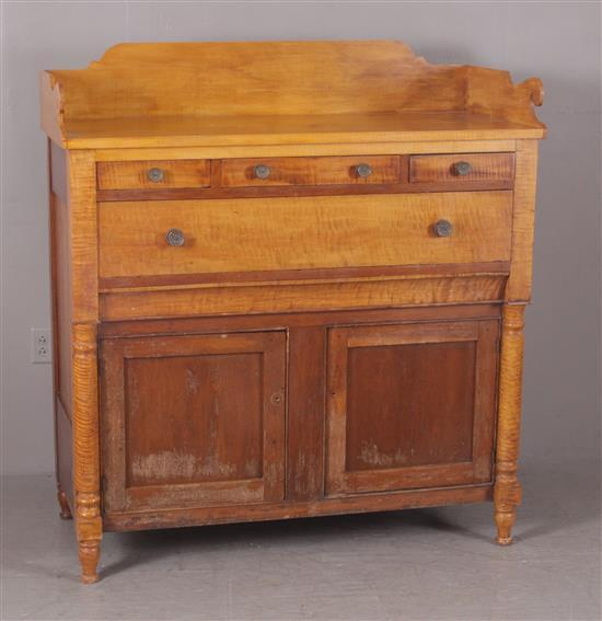 CURLY MAPLE AND CHERRY SHERATON SIDEBOARD WITH REPLACED GALLERY, 52