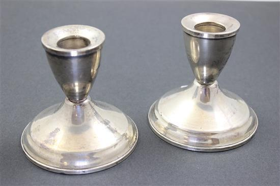 PAIR DUCHIN WEIGHTED STERLING SILVER LOW CANDLE HOLDERS, 3