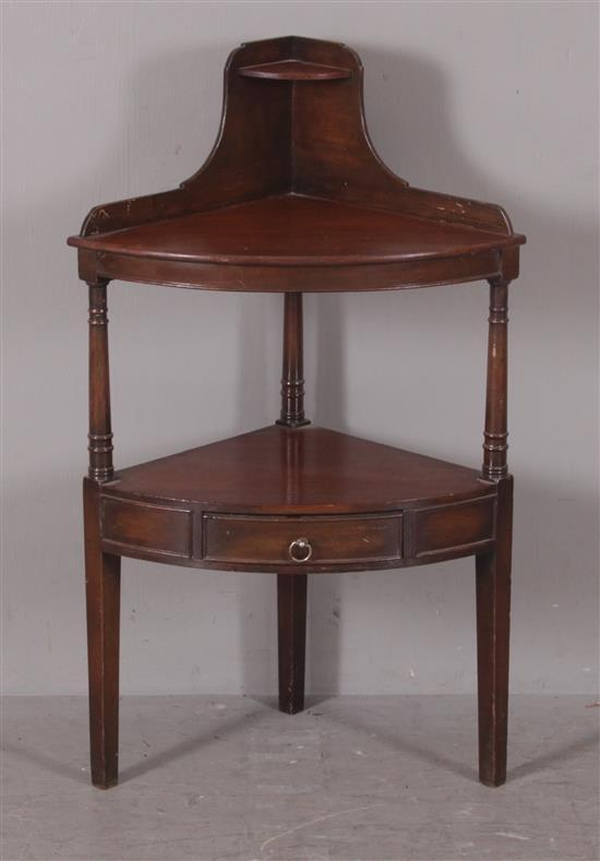 ENGLISH MAHOGANY CORNER STAND WITH SMALL SHELF AND DRAWER, 23