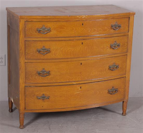 EARLY 19TH C. SHERATON POPLAR BOW-FRONT 4-DRAWER CHEST. METICULOUSLY GRAIN PAINTED ABOUT 1900, 43