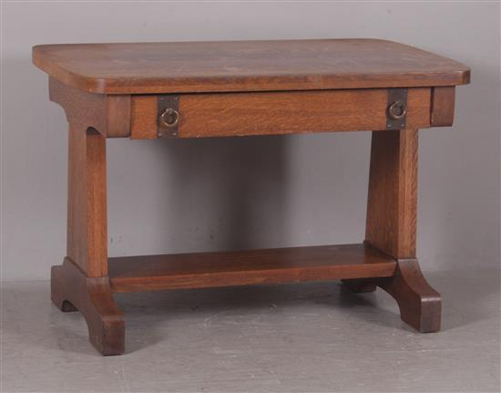 OAK ARTS AND CRAFTS LIBRARY TABLE WITH COPPER FINISH HARDWARE, 45