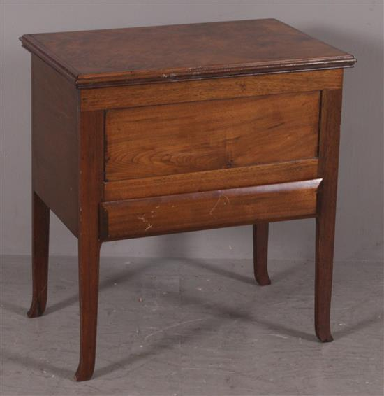 MAHOGANY BURLED VENEER LIFT-TOP STAND WITH DRAWER, 26