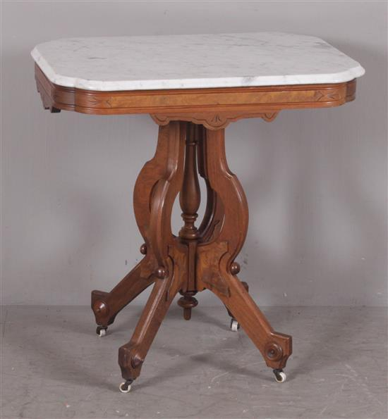 WALNUT VICTORIAN PARLOR TABLE WITH SHAPED WHITE MARBLE TOP, 29
