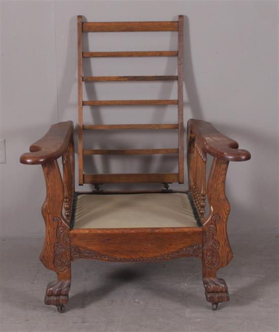 OAK CLAW FOOT MORRIS CHAIR, MISSING BACK BAR, 34