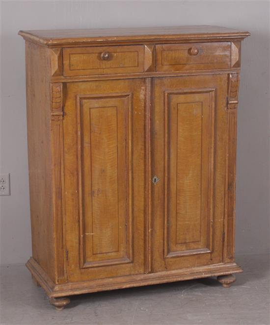 EARLY PINE GRAIN PAINTED TWO-DOOR CUPBOARD, 38