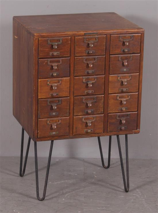 OAK 15-DRAWER COUNTER TOP FILE CABINET ON REPLACED METAL BASE, 20