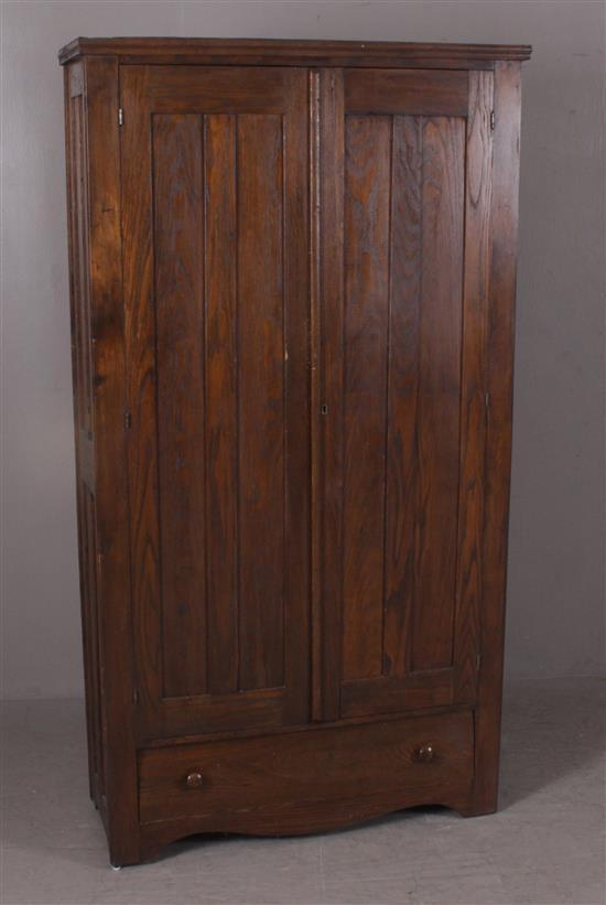 TURN OF THE CENTURY OAK 2-DOOR WARDROBE WITH ONE LOWER DRAWER, 37