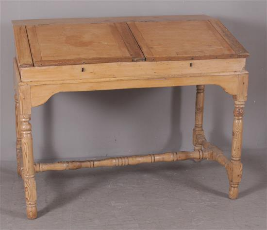 2 PIECE PINE BOOKKEEPER'S DESK WITH DOVETAILED CASE, 53