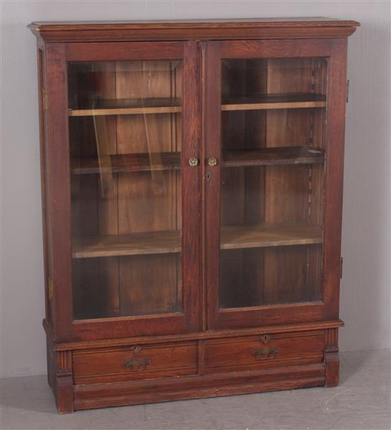 TURN OF THE CENTURY OAK BOOKCASE WITH 2 LOWER DRAWERS, 45