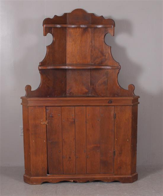 ONE-PIECE PINE OPEN TOP CORNER CUPBOARD, 48