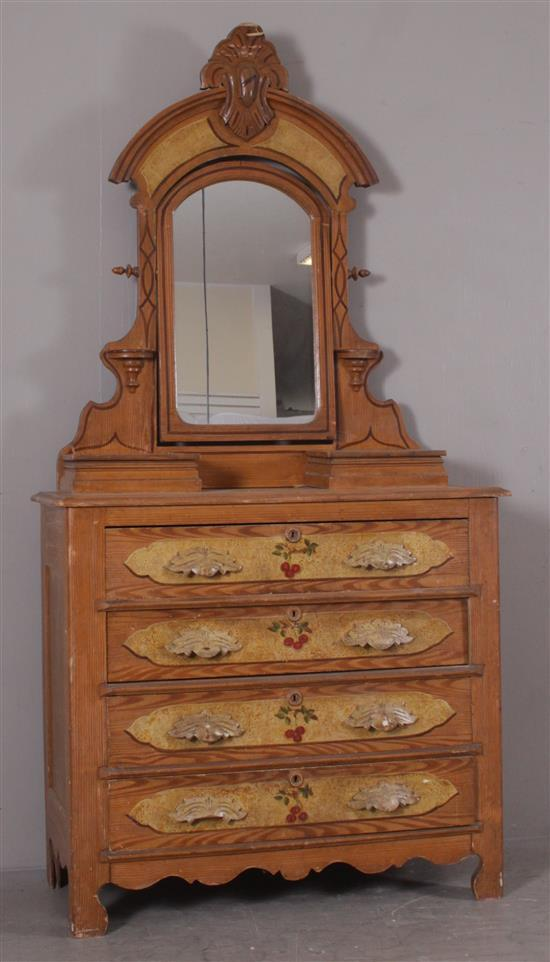 PINE GRAIN PAINTED DRESSER WITH MIRROR, CANDLE SHELVES, CARVED PULLS, AND HAND PAINTED RAISED PANELS ON DRAWERS, 40