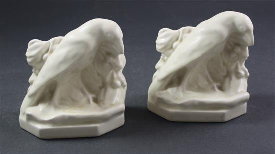 PAIR ROOKWOOD WHITE BIRD BOOKENDS, 5.5
