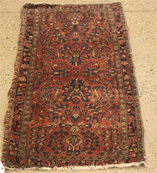 ORIENTAL RUG, ANTIQUE PERSIAN SAROUK, 2' x 4.2'