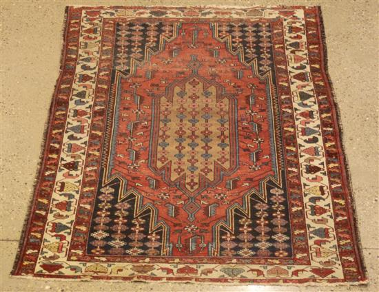 ORIENTAL RUG, ANTIQUE PERSIAN MAZLEGHAN, 4.3' x 6.7'