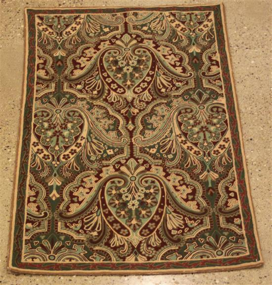 ORIENTAL RUG, OLD CHAIN STITCH RUG, 2.9' x 5'