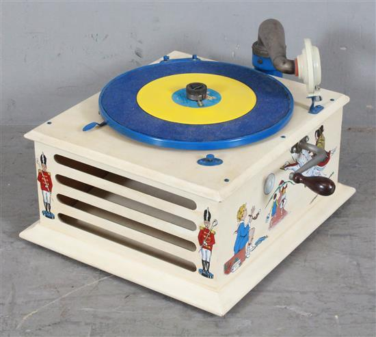 HAND CRANK PORTABLE 78 RPM RECORD PLAYER WITH CHILDREN'S MOTIF, 11.5