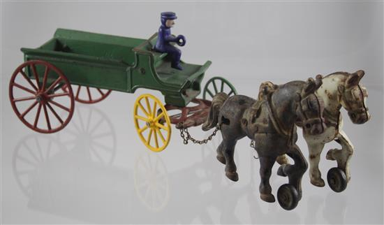 KENTON CAST IRON 2 HORSE FARM WAGON WITH DRIVER, 14