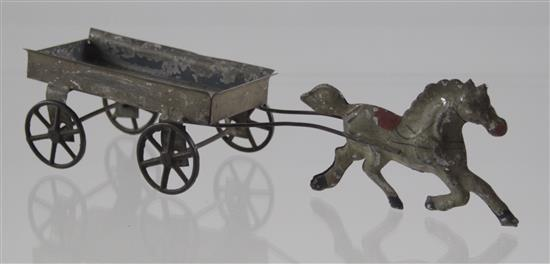EARLY AMERICAN SOLDERED TIN HORSE-PULLING WAGON, 9