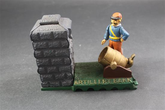 CAST IRON MECHANICAL BANK BOOK OF KNOWLEDGE EDITION, ARTILLERY BANK, 8