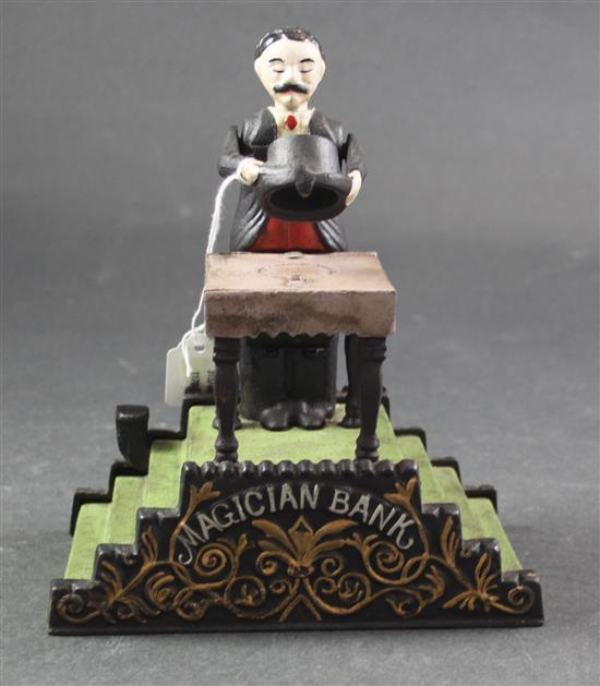 CAST IRON BANK BOOK OF KNOWLEDGE MAGICIAN BANK, 7.5