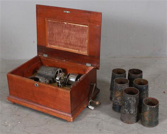 CAPITAL MUSIC BOX WITH CONE SHAPED CYLINDER IN WALNUT VICTORIAN CABINET WITH 13 CYLINDERS,5