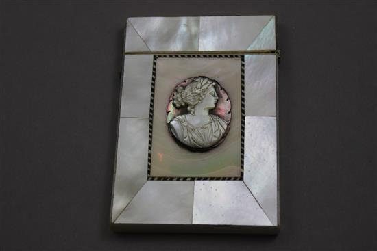 MOTHER OF PEARL CALLING CARD CASE WITH CAMEO, 3 3/4