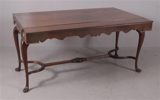 MAHOGANY TABLE WITH SLIDE OUT LEAVES AND STRETCHER BASE, 59