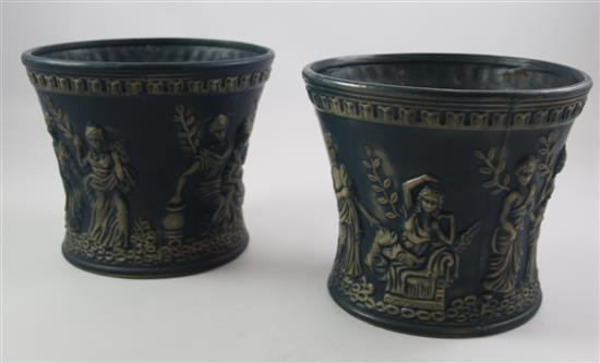 2 ROSEVILLE BLUE FLOWER POTS WITH EMBOSSED CLASSIC MOTIF, 8