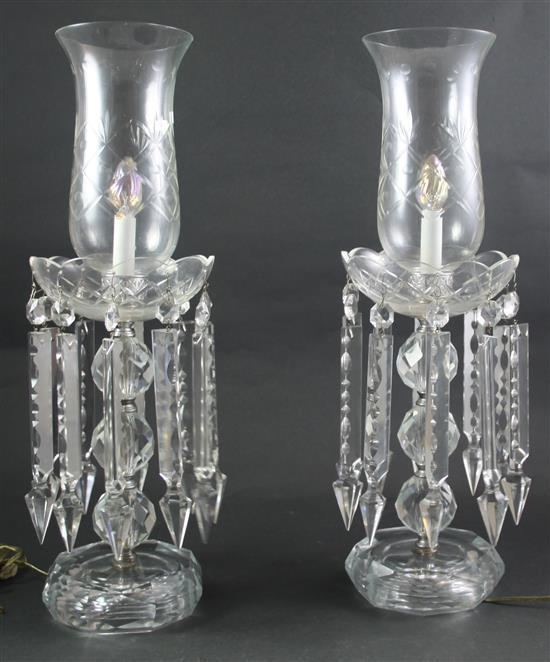 PAIR CRYSTAL TABLE LAMPS WITH PRISMS, 22.5