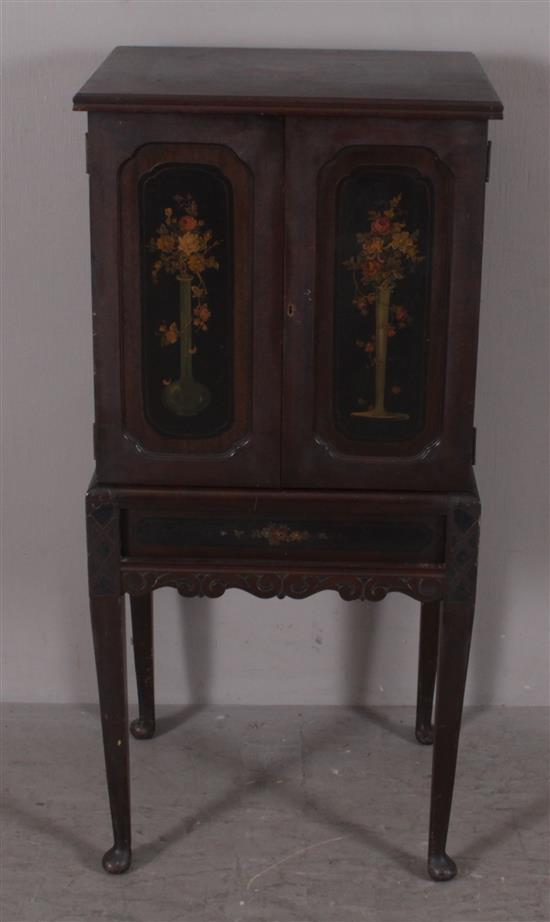 QUEEN ANNE STYLE MAHOGANY MUSIC CABINET WITH HAND PAINTED FLORAL DECOR ON DOORS AND TOP, 21