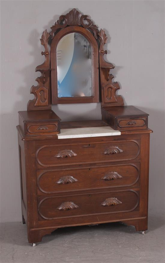 WALNUT VICTORIAN MIRRORED DRESSER WITH MARBLE INSERT, RACETRACK MOLDING, AND CARVED PULLS, 42