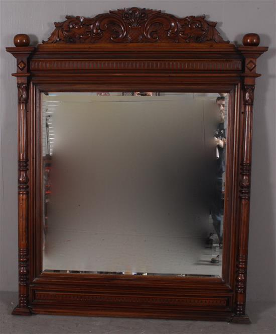 LARGE MAHOGANY FRAMED MIRROR WITH FLORAL CARVED CREST, 54