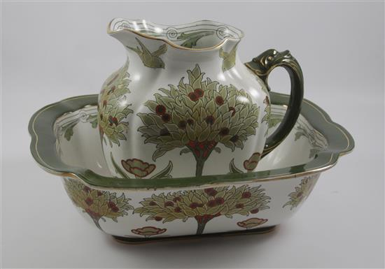 DOULTON BURSLEM TUDOR ENGLISH IRONSTONE PITCHER AND BOWL SET WITH ORANGE TREE MOTIF, PITCHER 10