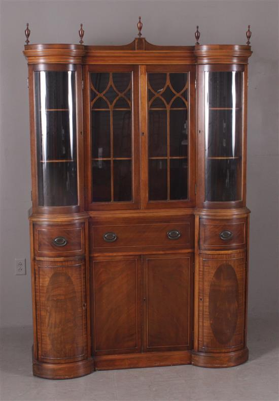 MAHOGANY CHINA CABINET WITH CURVED ENDS AND SECRETARY CENTER