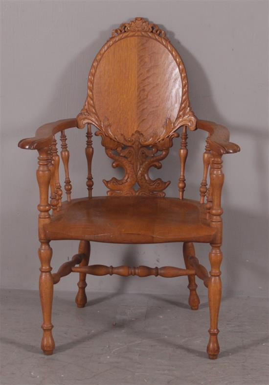 OAK ARM CHAIR WITH CARVED FISH DECOR, 38