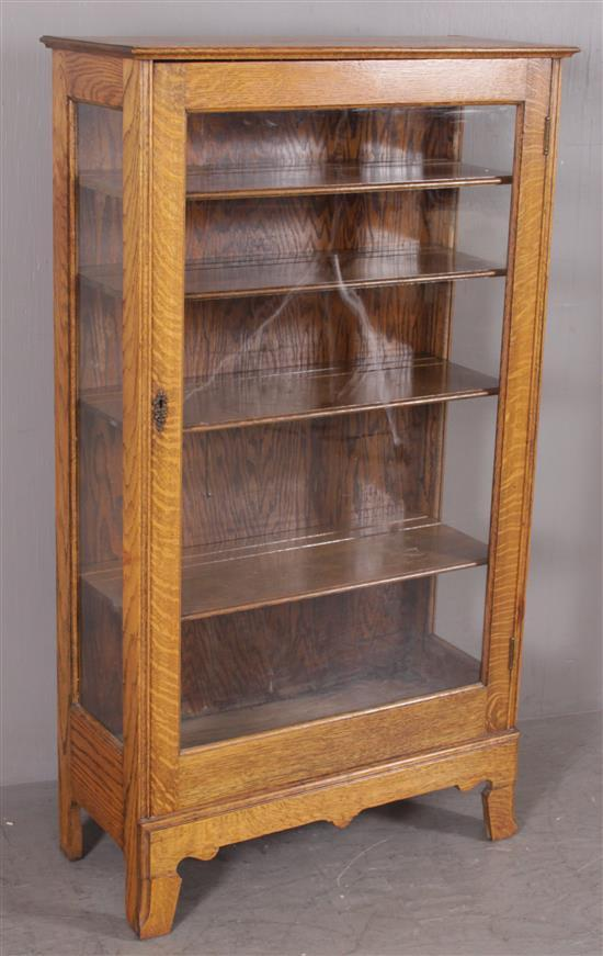 TURN OF THE CENTURY OAK SINGLE DOOR CHINA CUPBOARD, 31