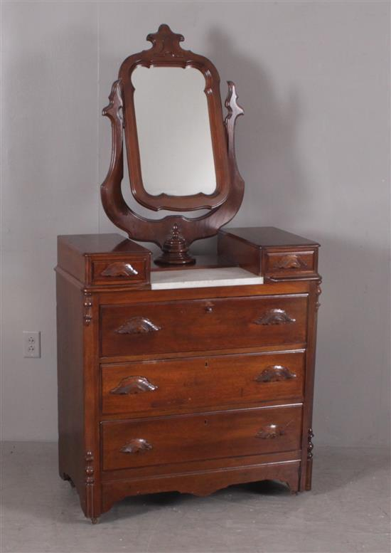 WALNUT VICTORIAN DRESSER WITH WISHBONE MIRROR AND MARBLE INSET, 35